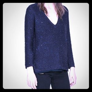 Zara sequined v neck knitwear